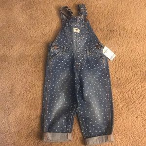 [Oshkosh] 2T Heart Denim Overalls